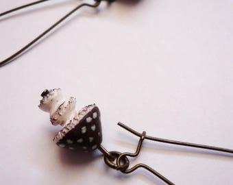 Brown mushroom earrings