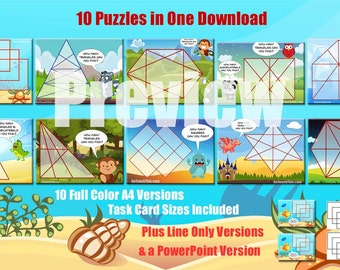 Problem Solving Puzzles - A Collection of 10 Problem Solving Task Cards