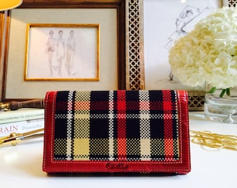 Red Fabric Wallet//Graduation Gift//Mother's Day Gift//Clutch Wallet//Leather Wallet//Slim Wallet