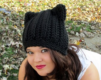 Cat Ears Beanie, Black Cat Hat, Crochet Ribbed Cat Ears, Trending Winter Hats, Chunky Cat Hat