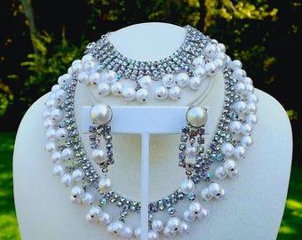Vintage Alice Caviness Parure AB Rhinestones Faux Pearls Necklace Bracelet Earrings