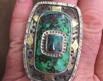 Parrott wing agate and opal ring, boulder opal ring, green stone ring