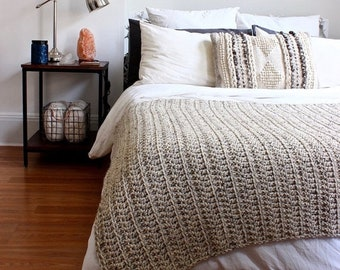 Homeware SALE THE PENOBSCOT - Oatmeal (ready to ship) // Chunky Knit Crochet Wool Throw Blanket Afghan