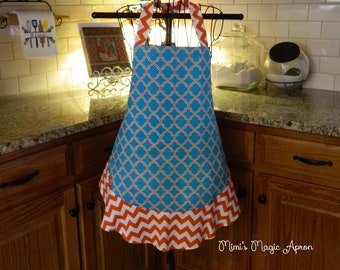 Ladies Full Apron, Orange and Blue Apron, Woman's full Apron / Retro Style / Full Designer Kitchen Apron / Vintage Apron