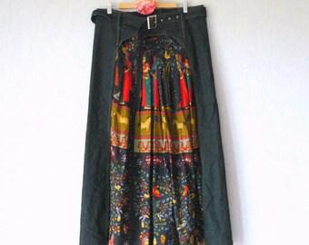 Maxi skirt in denim fabric and Indian, Boho upcycled skirt, Gypsy, folk, reworked maxi skirt skirt skirt, skirt Bohemian clothing recycled