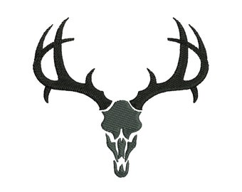 Buck deer skull silhouette embroidery designs, many mini sizes (.pes .hus .dst .vp3 .vip .xxx .exp .jef) embroidery fill stitch embroidery
