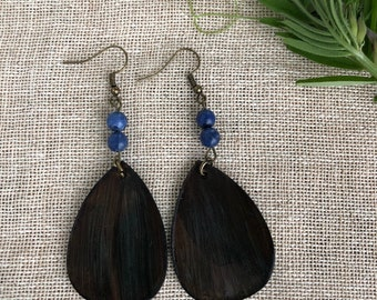 Leather Earrings Sodalite // Boho Earrings //