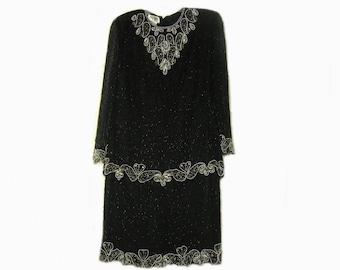 Vintage Black Beaded Silk Dress Size XL Brilliante by J.A.