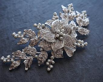 Bohemian headpiece, Large headpiece,  pearl headpiece, boho bridal, silver headpiece, Trailing headpiece, draped hair jewelry, boho bride