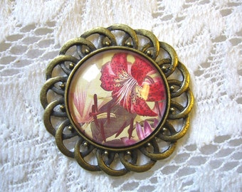 Red Daylily Pendant Free Shipping in USA