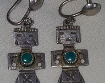 Sterling & Turquoise Tribal Figural Earrings