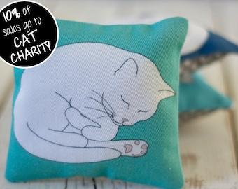 Sleeping Cat Lavender Sachet - Sea Green; Cat Lavender Bag; mini aromatherapy pillow; cat lover gift
