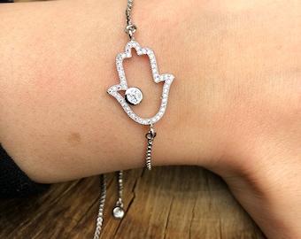Hamsa Hand Pave Silver Bracelet