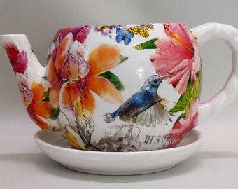 "Made To Order, Handmade Decoupage Ceramic Teapot Flower Pot, Birds, Plumeria Flowers, 4"", Succulent Pot"