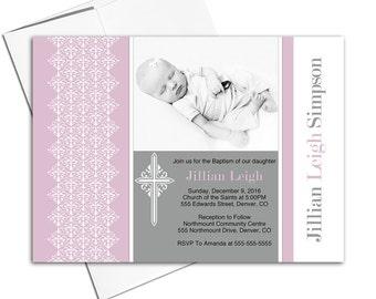 Purple Christening invitation girl printable | Unique baptism invites baby girls | DIY file or printed - WLP00203