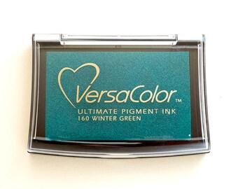 Ink pad VersaColor, Wintergreen, Water-based Pigment Ink Pad Large, Rubber Stamp Ink, Pigment Ink Pad Versa-Color, No. 160 blue green Inkpad