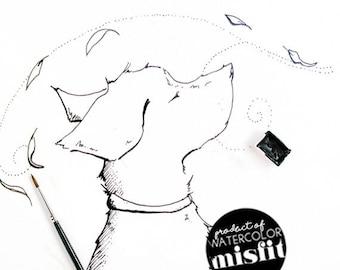 Whimsical Teddie (Dog) Enjoying Autumn Digital Download