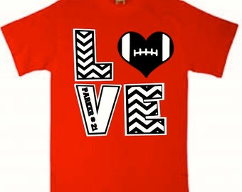 Personalized Football Love Shirt with Player's Name and Number, Football Shirt, Chevron Football Shirt