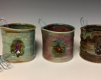 "Handmade Ceramic ""Scrambler"" with Whisk"