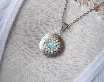 Silver Bird And Pearl Locket Necklace/Bird Locket/Pearl Locket Jewelry/Bluebird Locket