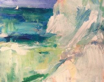 Les eaux côtières mer égéennes, expressive paysage marin avec voilier et la mer, abstrait peinture impressionniste