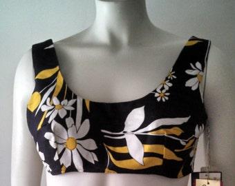 Vintage bullet bra top/ Kippe sportswear floral top NWT