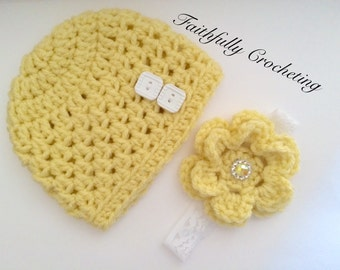 Newborn twin hat and headband set.. Ready to ship... Photography prop... Yellow