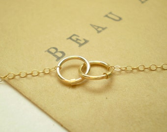 Tiny Links Necklace - Two Small Interlocking Links on Delicate Chain
