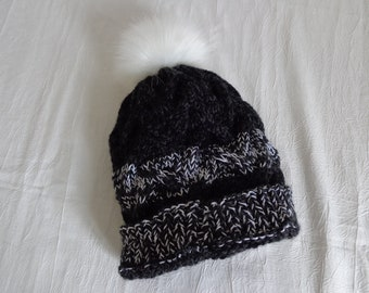 Black and silver grey wool hand knitted wool hat for women and teens -