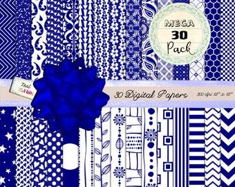 30 MEGA PACK Digital Papers in Royal Blue  (dots, chevrons, damask ets) for Digital Scrapbooking