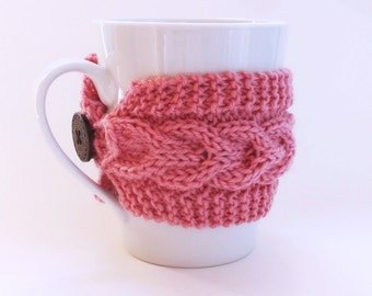 Knitted Pink Mug Cozy , Cup Warmer Knit Mug , Coffee Cup Cozy, Tea Cozy,