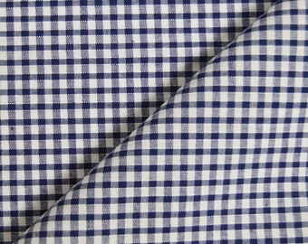 Fabric cotton gingham Navy & white 3mm - 100% cotton (in multiples of 20cm)
