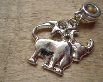 Rhinestone silver Taurus Zodiac pendant