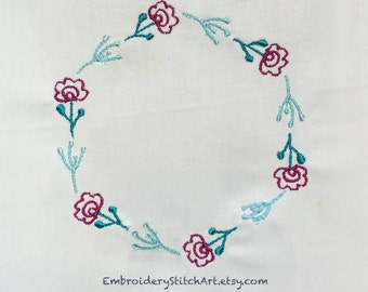 Machine Embroidery Design Floral Wreath Machine Embroidery Pattern Flower Pattern Wreath Design Embroidery Wishing Flower Dendolion Sewing