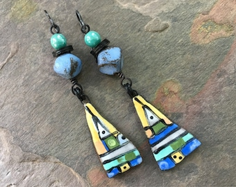 Lightweight Abstract Geometric Artisan Earrings, Boho Bohemian Hippie Gypsy JosephineBeads, Eclectic Jewelry, Handmade Dangle Earrings
