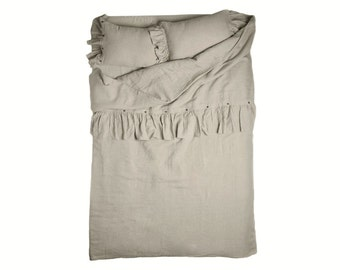 Ruffle duvet Queen duvets King duvet covers Twin duvet Full linen duvet Double or custom size Vintage bedding collection
