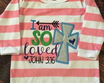 I am so Loved Biblical Design for Girl or Boy, So Loved Baby Gift, John 3:16, Bible Verse Baby Gift, Custom Christian Baby Present