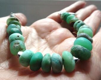 Chrysoprase bracelet. Green matte gemstone chunky bracelet. Fashion boho bracelet. Chrysoprase jewelry - Women jewelry gift