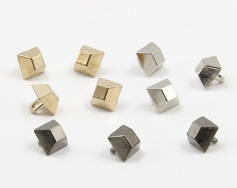 10 Pcs 0.31 Inches High-grade Retro Small Gold/Silver/Gun Black Square Metal Shank Buttons For Shirts