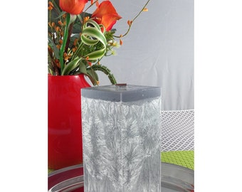 Wooden Wick Silver Square Scented Candle 76x76x150