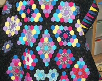 Handmade VINTAGE patchwork, newly remade into a beautiful quilt