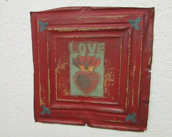 Love Panel Art #3-Antique Ceiling Tin-Vintage Primitive--12x12 in-Reclaimed-Re-Purposed