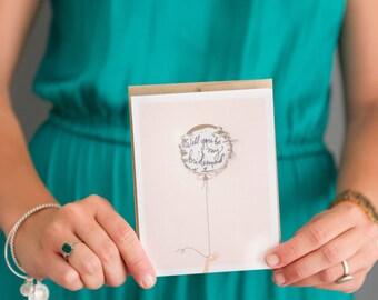 """Scratch-off """"Be My Bridesmaid?"""" Card // Ask Bridesmaids, Maid of Honor Card, Bridesmaid Proposal, Bridesmaid Box // Gold Balloon"""