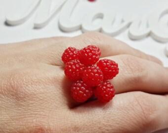 Polymer clay jewelry Polymer clay raspberry ring Adjustable ring Polymer clay fruit Raspberry ring Polymer clay fruit jewelry Berry jewelry