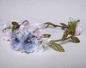 Pink & Blue Flower Crown, Blue and Pink Bridal Flower Crown Circlet, Fairy Crown, Festival Hair Wreath, Flower Girl Flower Crown - RB0085