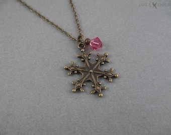 Frozen Snowflake Necklace - Elsa - Bronze Charm