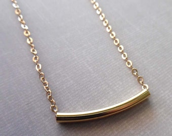 Dainty Gold Round Bar Necklace / Layering Bar Tube Necklace /Small Gold Bar Round Tube/ Gold Layering Necklace / GS6