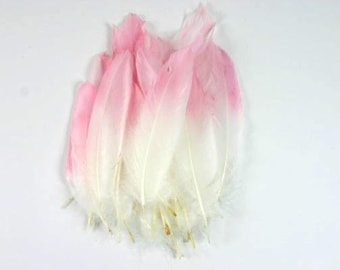 25 Painted Feathers White Feathers With A Soft Pink Tip Airbrushed Feathers Craft Goose Feathers Unique Feathers Wedding Feathers Nr 2