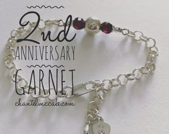 Ready-made garnet second anniversary adjustable length bracelet in sterling silver with stamped charm, Perth Western Australia