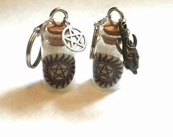 Supernatural /Sam and Dean Winchester Protection Bottle Keyrings-your choice of charm